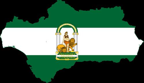 Bandera de Andalucía en el mapa